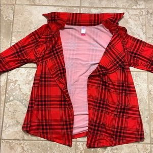 Red checkered lumber jack flannel cardigan